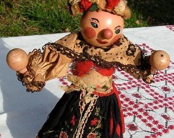 30s 40s Hispanic Latino Wood and Cloth Doll Bendable Maracas Ethic Costume Mexico Puerto Rico Spain