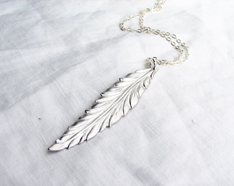 Long Leaf Necklace. Matte Silver Leaf Charm with Sterling Silver Chain. Simple Modern Jewelry