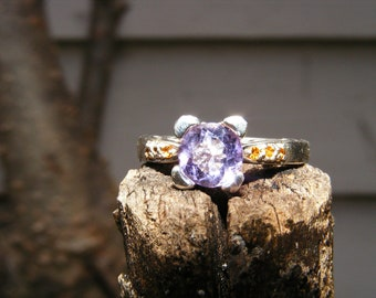 Amethyst & 925 Silver Solitaire with Citrine Accents