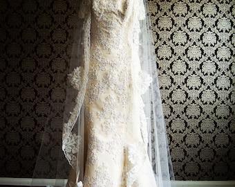 Vintage Style Mantilla Chapel Length Beaded Bridal Veil by IHeartBride Edria Mantilla Style Bling Lace Veil ivory or White Custom Mantilla