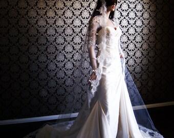 Classic Mantilla Lace Chapel Length Bridal Veil with Eyelash Edges by IHeartBride Style Eliana Mantilla - Floral Thin Lace