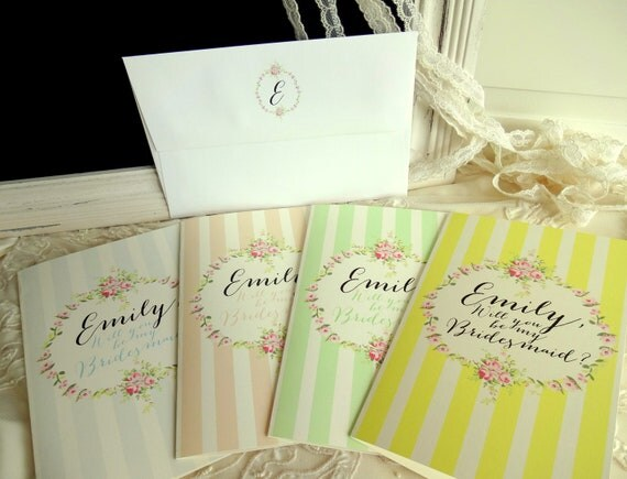 For Genevieve - Be My BRIDESMAID/ MAID of Honor Cards x 11. Shabby Chic, Vintage Inspired.  Fully Personalized.