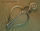 Hammered LEAF BROOCH, Hair Pin or Shawl Pin For Scarf made with Aluminum Wire - A touch of Nature to your look