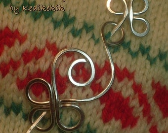 Big Hammered CELTIC SWAN Brooch, Hair Pin or Shawl Pin For Scarf made with Aluminum Wire - Very light to wear -