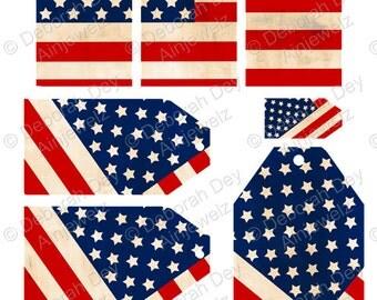Vintage Stars & Stripes Flag USA Gift Tag Collage Embellishment Sheet - INSTANT Digital DOWNLOAD