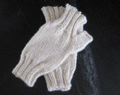 Sale: WOOL HANDWARMERS - Manchester Mitts (Cream, Adult)- Fingerless Mitts - Ready to Ship