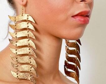 Kahina Statement Earrings - Long High Fashion Metallic Gold Leather Geometric Linear Drop Dangle Wave Statement Earrings