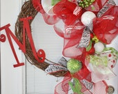 Beautiful Christmas wreath with Letter