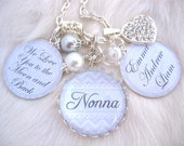 NONNA JEWELRY, Gifts for Nana, Gifts for Nonna, Grandmother we love you to th moon and back Jewelry, Keychain Chidrens name, glass dome