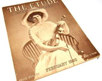 Vintage Magazine Music 1920s Musical Magazine The Etude