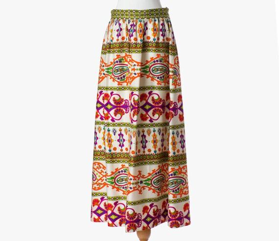 70s Vintage Maxi Skirt Formal Silky Multicolor Hippie Gypsy Fall Medium