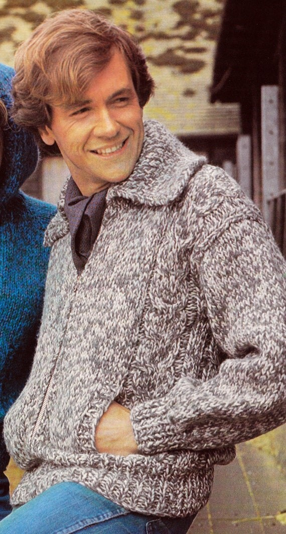 Knitting Pattern Zippered Cardigan : Knit Mens Zipper Cardigan with Shawl Collar 1970s UK