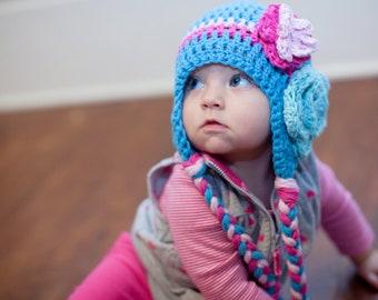 Crochet baby hat, baby hat, baby girl hat, crochet girls hat, crochet kids hat, hat with flower
