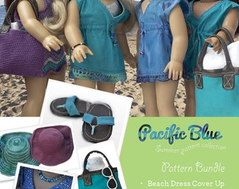 Pacific Blue PDF Pattern Collection for 18 inch dolls like American Girl - INSTANT DOWNLOAD