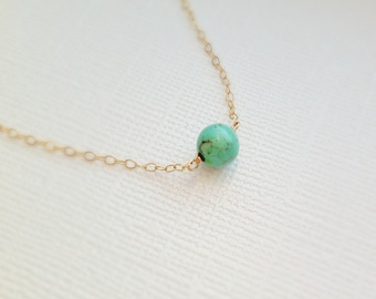 Turquoise stone charm Necklace, Turquoise Stone Necklace, Dainty 14k gold filled chain Also available in sterling silver, Charm Necklace