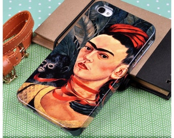 "Frida Kahlo phone case for iPhone and Samsung. ""Self Portrait with Monkey"""