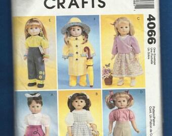McCalls 4066 Retro Doll Wardrobe Pattern Size 18 inch Dolls UNCUT