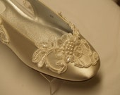 Wedding Champagne Flats Alencon flower lace trimmed