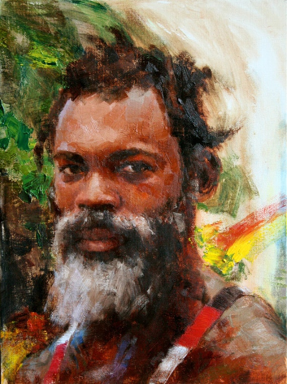 Original Oil Painting Portrait Oil On Canvas Rasta By