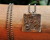 Rustic Silver Pendant Necklace Simple Square Pendant with Flower Texture Metal Clay Jewelry