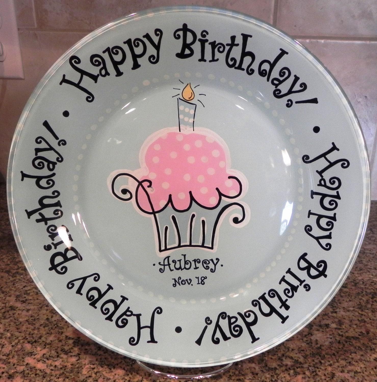 Birthday Cake Plate Personalized Happy Birthday Plate Hand