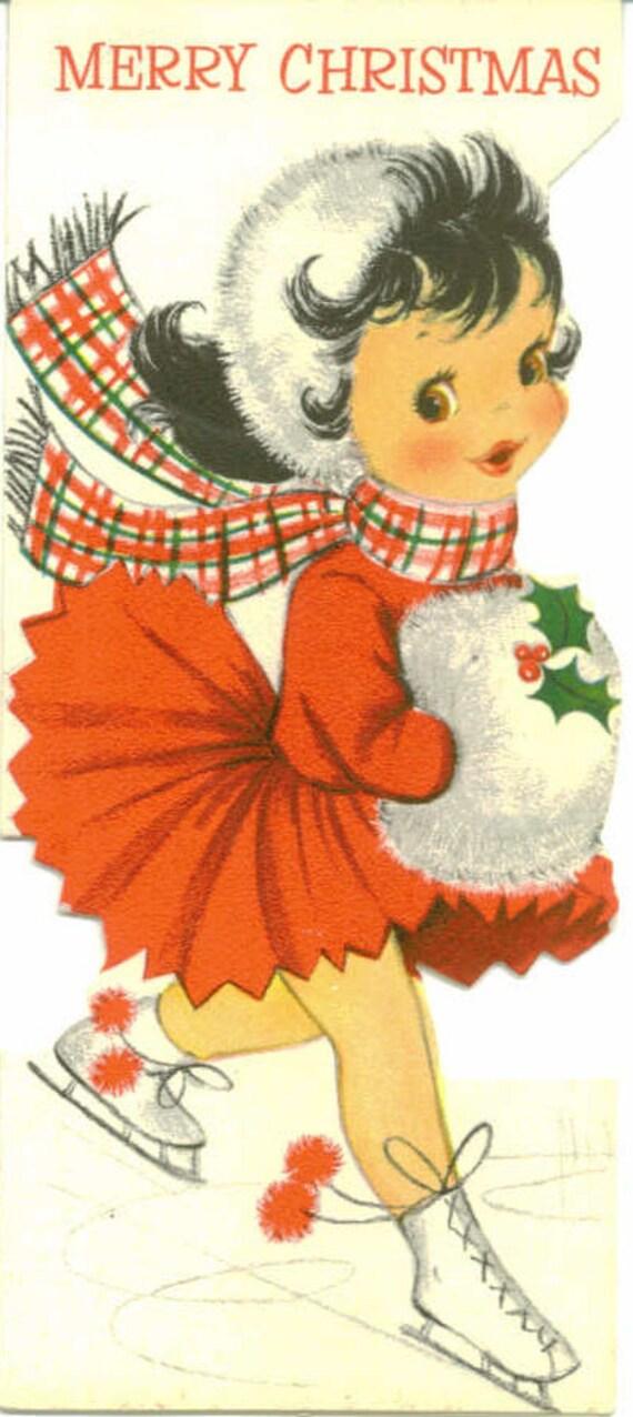 vintage hallmark christmas card girl ice skater unused
