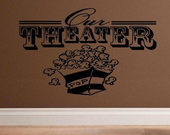Home theater decal Our Theater HT001 wall decal decal living room family room home decor media room man cave decor vinyl decal decal for men