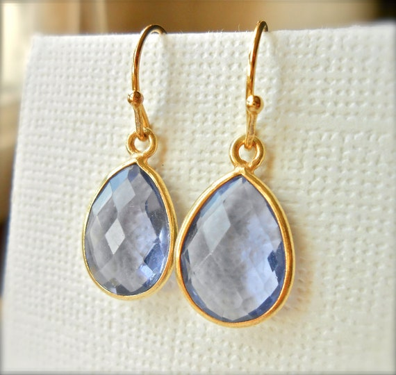 Mystic Quartz Earrings Teardrop Bezel Set in Gold Vermeil - Delicate Classic Gemstone Jewelry - Something Blue