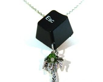 Necklace Recycled Computer, Palm, ESC Key, Swarovski