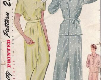 Classic 1940s Ladies Pajama Pattern Simplicity 1995 Size 12