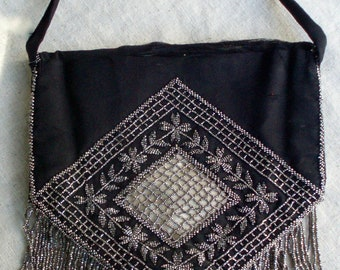Vtg. Black Silk Purse with Tiny Marcasite Beads from 20s