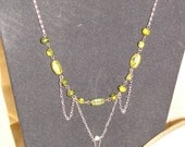 Silver chain with green beads and green SKULL (149)