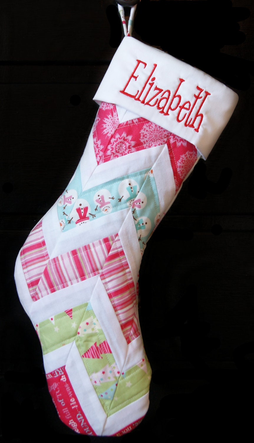 Personalized chevron christmas stocking for Custom made christmas stockings