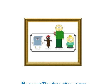 South Park 2 - counted cross stitch sampler pattern 8x10