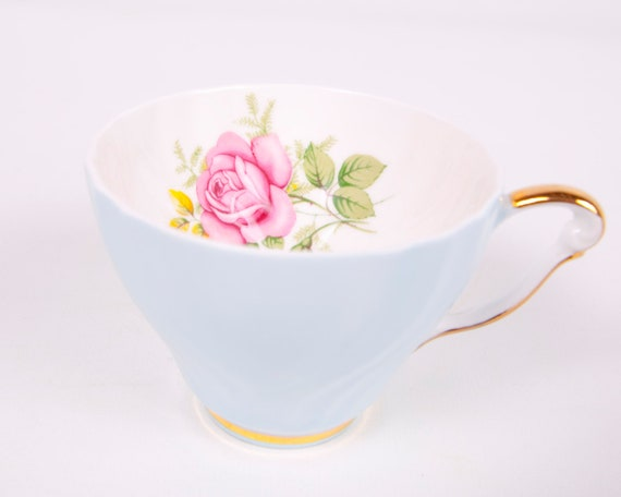 Reserved for Pat Vintage Queen Anne Teacup Bone China England Baby Blue Rose Design