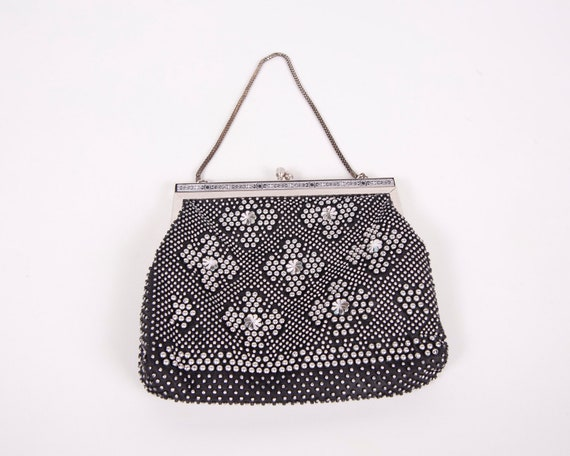 Vintage Black Beaded Purse Silver Beads 1950s Ornate Design Metal Frame Lined Evening Bag