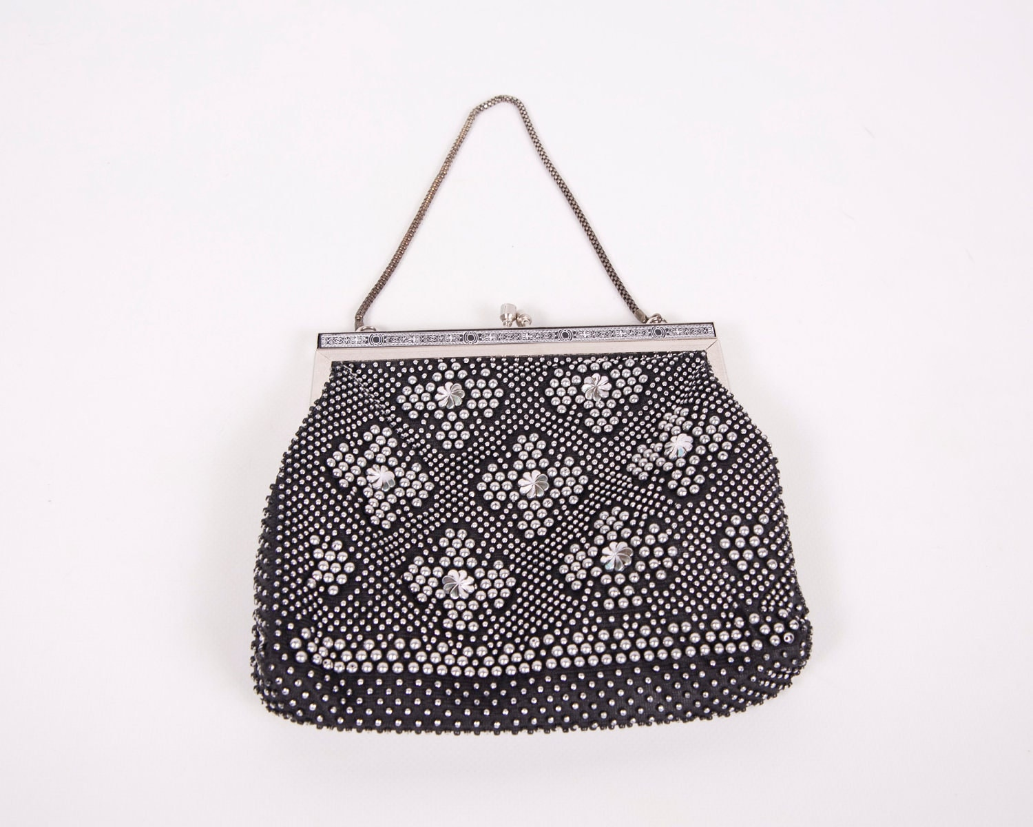 vintage black beaded purse silver 1950s by