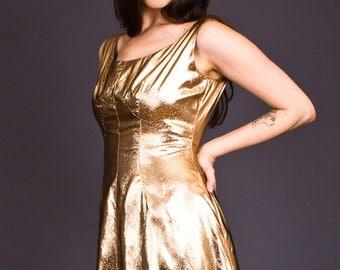 SALE 50% OFF 90s Vintage Shimmering Copper Mini Dress