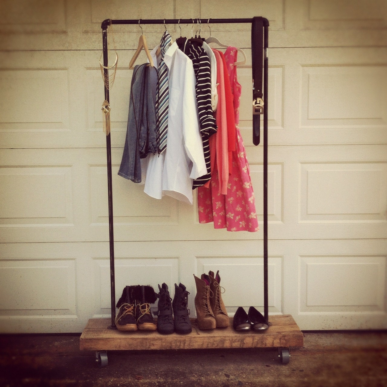 Clothes Rack: Industrial Rustic Garment Rack With Steel Pipe And Recycled
