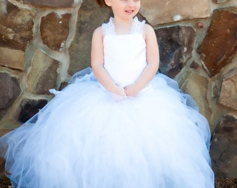 Flower Girl Tutu Dress Floor Length Sewn Tutu Dress with Satin Corset Style Top with Lace Straps and Satin Flower Hair Clip CUSTOMIZABLE