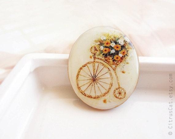 SALE - Bicycle flower pot brooch