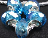 Gorgeous Sterling Silver Faceted Super Shiny Blue AB Effect Bead for European Interchangeable Charm Bracelet 1pc