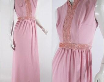 70s Maxi Hostess Dress Mauve Pink Sequined - sm, med