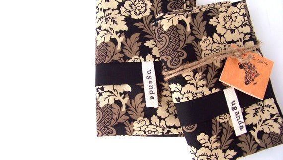 Paisley Floral Black and Tan pillowcases-Adoption Fundraiser
