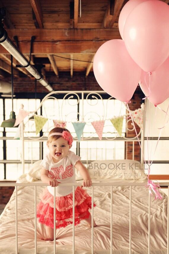 "Birthday ""One"" Shirt for Girls First Birthday - 1st Birthday Shirt - Light Pink Polka Dots- Matching Headband"