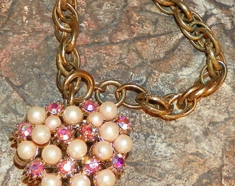 Bracelet for Your Valentine Pearl & Aurora Borealis Heart on Gold Tone Chunky Chain West Germany