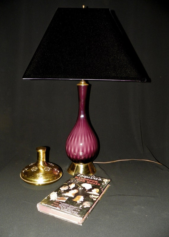 Vintage Italian Hand Blown Eggplant Glass Lamp