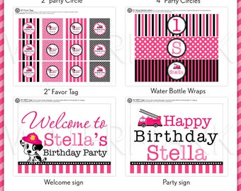 Dalmatian Pink Fire Fighter Birthday Party Package Personalized FULL Collection Set  - PRINTABLE DIY - PS814CA2x