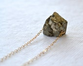 closing store Pyrite Necklace Raw Rough Cut Pyrite on a Gold Chain