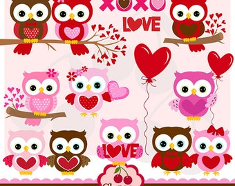 Valentine's Day Sweet Owls digital clipart set-Personal and Commercial Use-paper crafts,card making,scrapbooking,web design